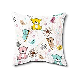 Cushion Cover | Teddy Print Cushion Cover With Filler | Poly Cotton Cushion Cover For Kids Room Dcor- 1 Piece ( 12 x 12 Inch)