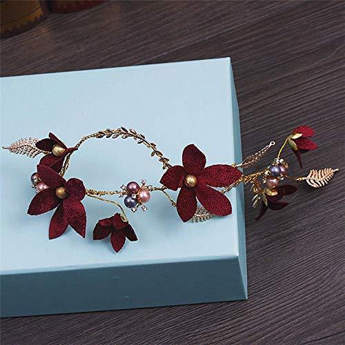 Littlefairy Braut Haarschmuck,Rote Blume Perlen Kopfschmuck Braut Handgemacht Hochzeit Kleid Kopf Reifen Haarschmuck -