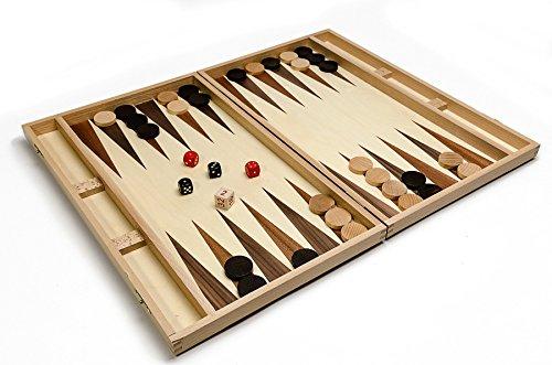 KÖNIGLICHE BACKGAMMON LICHT - große 49cmm / 19,3 In Handarbeit aus Holz Backgammon