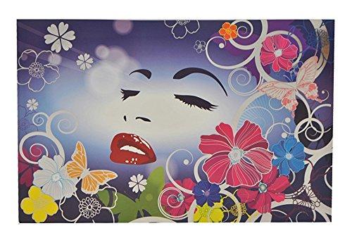 Preisvergleich Produktbild XL Sticker 25,5 cm * 39 cm kürzbar - Hibiskus Blume Ranke Frau Schmetterlinge - Aufkleber Folie Glimmer Skin