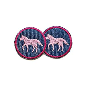 Set 2 Jeansflicken Pferde Patch gestickt Flicken zum aufbügeln