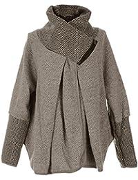 GG Frauen Damen Italian Lagenlook Quirky Schicht Wool Zip Langarm-Cocoon-Mantel-Jacken Poncho Cape Oversize