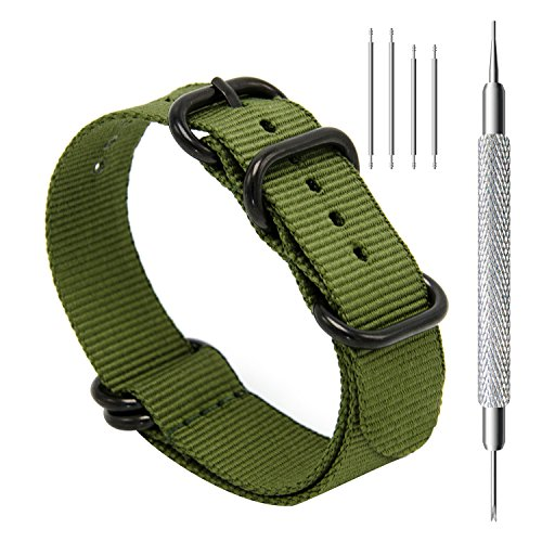 CIVO Uhrband Heavy Duty G10 Zulu Militär Uhrenarmband NATO Premium Ballistisches Nylon Uhr Armband 5 Schwarze Ringe mit Edelstahl Schnalle 20mm 22mm 24mm (army green, 22mm) (G-shock-watch-weiß-grün)