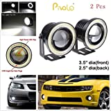 Pivalo High Power Universal Car Projector LED Fog Light Lens Kit with White COB Halo Angel Eye Rings DRL Driving Bulbs for Cars, 10W - Pack of 2