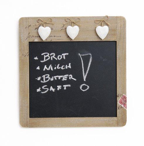 Landhaus Memotafel mit Herzen zur Beschriftung mit Kreide im Holz Rahmen, 28cm x 29cm Küchentafel Kreidetafel Herz