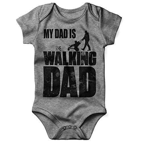 Mikalino Babybody mit Spruch für Jungen Mädchen Unisex Kurzarm My Dad is The Walking Dad | handbedruckt in Deutschland | Handmade with Love, Farbe:Heather, ()