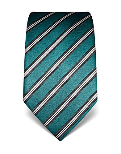 Vincenzo Boretti Herren Krawatte aus reiner Seide, gestreift, in vielen Farben,smaragd