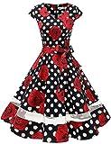 Gardenwed Damen Vintage 50er Cap Sleeves Retro Cocktailkleid Rockabilly Petticoat Faltenrock Hepburn Stil Abendkleid Black Rose Dot S