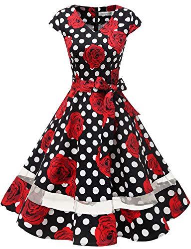 Gardenwed 1950er Vintage Retro Rockabilly Kleider Petticoat Faltenrock Cocktail Festliche Kleider Cap Sleeves Abendkleid Hochzeitkleid Black Rose Dot 3XL