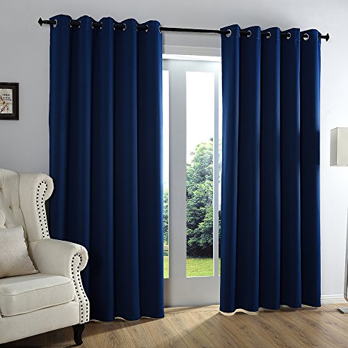Qinuo Home Alaska Three Pass Microfiber Ready Made Solid Thermal Insulated Ring Top Curtains Blackout Drapery Panels for Baby Room Including Two Matching Ties (2 Panels 46 by 54 inch, Navy) (Blackout-panels)