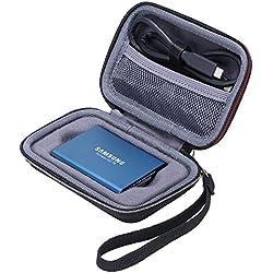 XANAD Samsung T3 T5 SSD Portable Étui pour Samsung T3 T5 250GB 500GB 1TB 2TB Disque Flash SSD Externe Antichoc Samsung T3 T5 Sac de Transport Housse