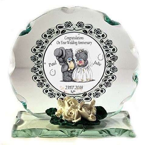 Hochzeit Geschenk personalisiert geschliffenes Glas Gedenktafel mit Namen und Datum der Hochzeit Custom Made zur Bestellung Geschenk (Gedenktafel An Der Hochzeit)