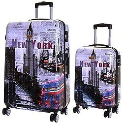 Karabar Valise Rigide à roulettes pivotantes de qualité supérieure avec Serrure TSA intégrée - Ensemble Lot de 2 valises rigides pièces, Falla New York
