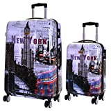 Karabar Set of 2 Hard Shell Polycarbonate Suitcases Luggage Bags Carry-on Cabin