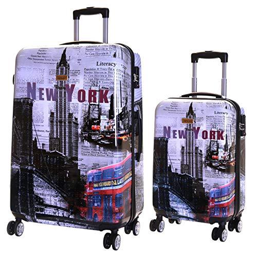 Karabar 2er Koffer-Set Trolley-Set Rollkoffer Hartschalen-Koffer Reisekoffer Große XL und Handgepäck Gepäck Polycarbonat mit 4 Rollen und integrierten TSA-Schloss, Falla New York - Voll Gefüttert-gepäck-set