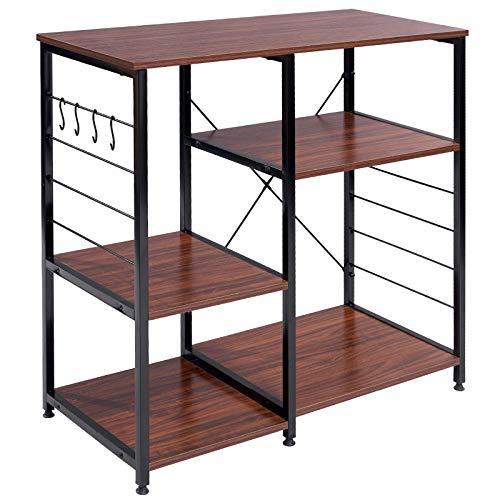 WOLTU RGB9324dbr Küchenregal Standregal Mikrowellenhalter Bäcker Regal Metallregal aus Holz und Stahl, mit 5 Ablagen, ca. 90 x 40 x 83,5 cm, Schwarz + Dunkelbraun