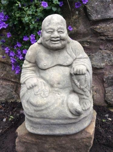 Happy Outdoor Statue Buddha (Stone Happy Buddha Gartenfigur Lachender Happy Antik Stil)