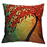 Kavitoz Hot Sale! Pillow Case,Coffee Party Festival Cushion Cover Sofa Bed Home Decor Flower Tree Waist Throw Pillow Cover (Yellow)