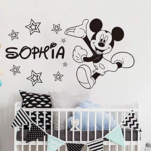 te Name Maus Wandaufkleber Vinyl Kinderzimmer Wandtattoo Kindergarten Cartoon Benutzerdefinierte Tier Aufkleber Baby Room Art AY980-31x57cm ()