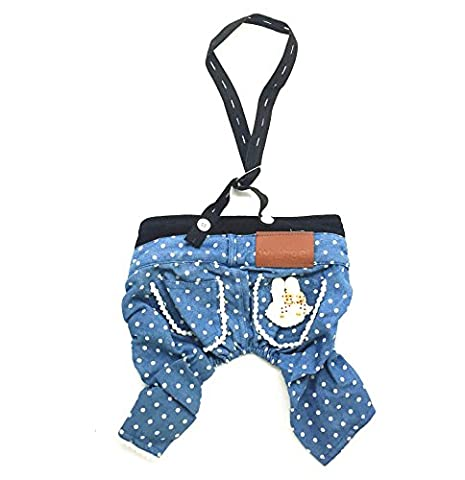 Gollyking Stylish Dog Jeans Dog Pants Denim Dog Overalls Cute Dog Jumpsuit Pet Clothes,Bunny (S)