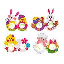 BESTOYARD 4 pz Pasqua Fai da Te Occhiali Partito Carino Coniglietti Pulcini Coniglio Uovo Modello di Fumetto Bambini Fatti a Mano Forniture per Feste di Pasqua (Modello Casuale)