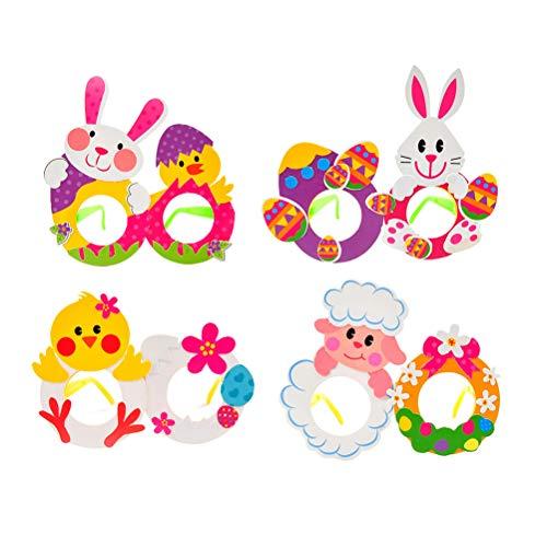 Amosfun Party Brillen Lustige Hasen Huhn Eier Sonnenbrille DIY Kinder Brillen Ostern Party Gastgeschenk 4 Stück