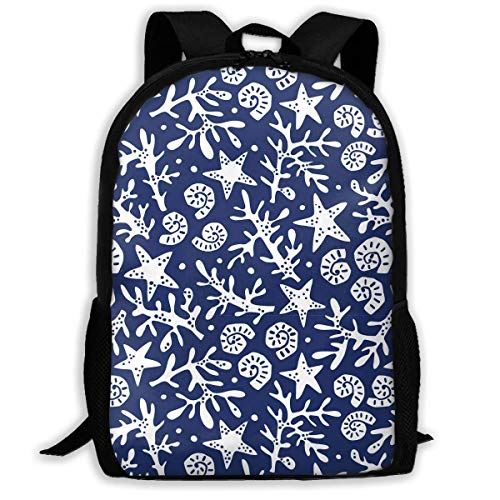 TRFashion Seashells Corals and Starfishes Fashion Outdoor Shoulders Bag Durable Travel Camping for Adult Backpacks Rucksack -