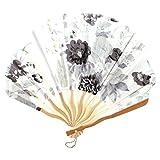 Costillas de bambú Conchas de Flores Forma de Abanico Blanco Gris