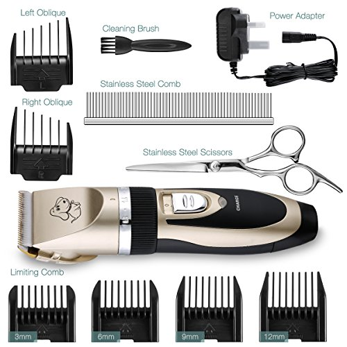 Dog-Clippers-Topop-6-Comb-Guides-Rechargeable-Cordless-Pet-Grooming-Clippers-with-Stainless-Comb-and-Scissors-and-Cleaning-Brush-for-Pet-Dogs-and-Cats