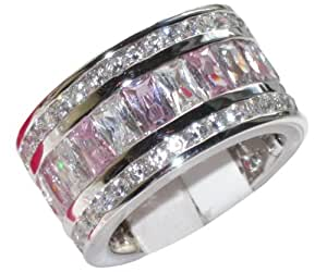 CLEAR-OUT SALE! 12mm Chunky Swarovski Elements Sterling Silver 925 Stamped Ring. Light Rose and Clear Crystals. Beautiful Design, Very Fine Jewellery Finished To An Outstanding Quality.
