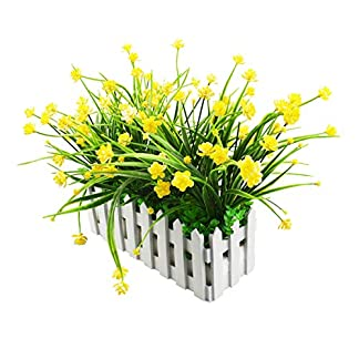 XONOR – Flores Artificiales para Exteriores – Resistente a los Rayos UV – Verduras Falsas en Valla, Maceta, para Ventana, Cementerio, hogar, Interior, jardín, Oficina, decoración de Boda