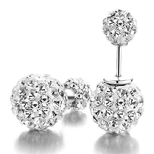 Kim Johanson 1 Paar Damen Kristall Disco Shamballa Kugel 925 Sterling Silber Ohrringe Ohrstecker inkl. (Disco Gold Ohrringe Kette)