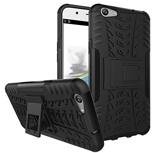 Covet Covers Rugged Dual Layer Shockproof Kickstand Warrior Case Back Cover for Oppo A57, Black