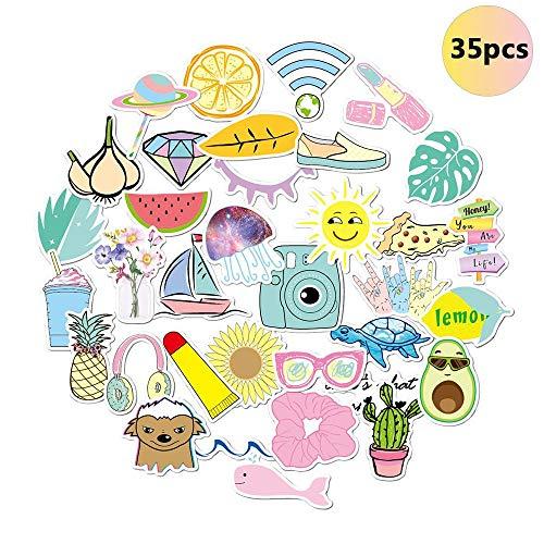 Aufkleber für Wasserflaschen, Trendige niedliche wasserdichte ästhetische Vinyl-Graffiti-Aufkleber - Laptop und Wasserflasche Decals Sticker Pack für Mädchen Teens Frauen (35 Pack)