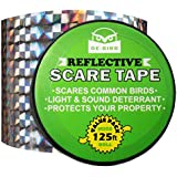 De-Bird Bird Repellent Scare Tape, Simple Control Device To Keep Away Pigeons, Woodpeckers, Geese And More. Deterrent Ribbon Stops Damage And Deters Pests 125 Ft. (38.1M) Silver - Ice Cracked Pattern