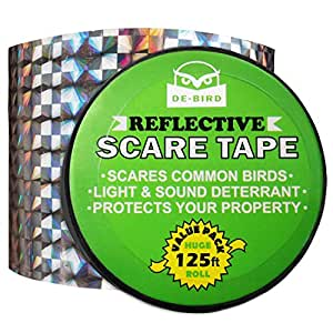 De-Bird Bird Repellent Scare Tape - Deterrent Ribbon Stops Damage and Deters Pests - Silver Diamond Pattern - 125 Ft/38.1M