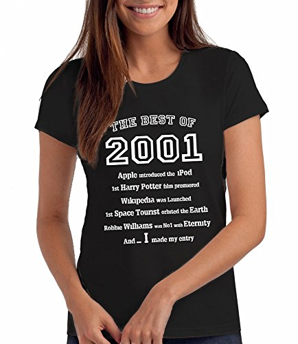 Da Londra Damen - The Best of 2001 - T-Shirt als Geschenk zum 18. Geburtstag: Bk, M