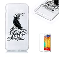 For Samsung Galaxy J5(2017 Model) Case [with Free Screen Protector], Funyye Crystal TPU Transparent Soft Silicone Ultra Thin Fashionable Pattern Cover for Samsung Galaxy J5(2017 Model) - Feather Love
