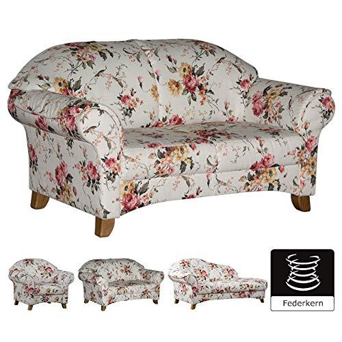 Cavadore 2-Sitzer Sofa Maifayr mit Federkern / Geblümte Couch im Landhausstil mit Holzfüßen / 164...