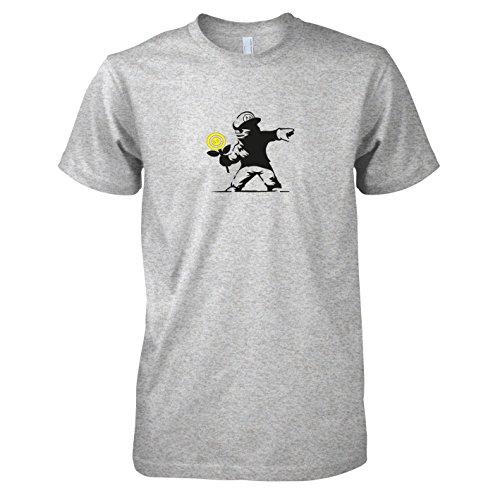 TEXLAB - Banksy Mario - Herren T-Shirt, Größe L, graumeliert (Banksy Graffiti Kostüm)