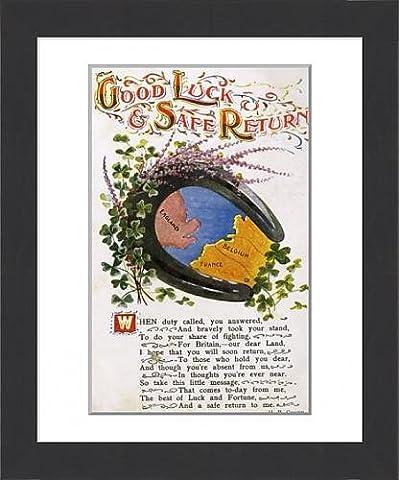 Framed Print of Good Luck Postcard - WWI era