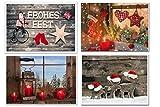 Weihnachtskarten-SET 4 weihnachtliche Karten rot natürliche Foto-Karten Weihnachten Klappkarte MIT KUVERT neutral Foto-Motiv natur Fenster Kerze Santa Schaukelpferd rustikal