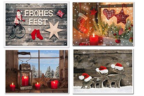 Weihnachtskarten-SET 4 weihnachtliche Karten rot natürliche Foto-Karten Weihnachten Klappkarte MIT KUVERT neutral Foto-Motiv natur Fenster Kerze Santa Schaukelpferd rustikal -