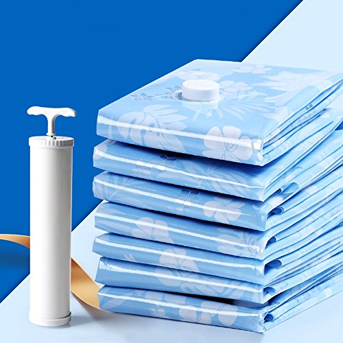QFFL Sac de compression sous vide Sac de compression de vide créative multi-taille bleue / sac de compression de couverture de couette / sac d'emballage pratique de vêtements / sac de stockage créatif de garde-robe avec la pompe à main (un paquet de 19) Sac de protection
