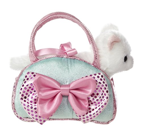 Aurora World Fancy Pals Toy Pet Carrier Plush Purse, Blue Bows