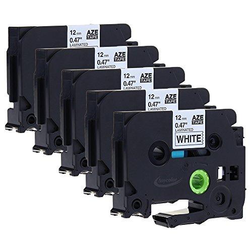5x Schwarz auf Weiß Kompatibel für Brother Original P-touch Schriftband AZe-231 12mm breit x 8m Länge für 1000W 1830 2730 D200 7100 2100 2030 1830 7600 VP 2430 1230 9700 PC 1090 2470 1290 1010 1080 1830 E100 P700 H75S H105