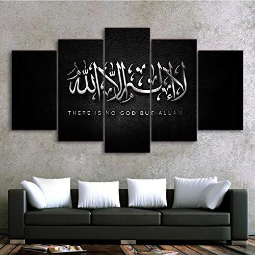 Wuwenw Bilder - Leinwandbilder - Fertig Aufgespannt - Vlies Leinwand - 5 Teilig - Wandbilder Xxl - Kunstdrucke - Wandbild - Canvas - Islam Allah Koran-40X60/80/100Cm,With Frame