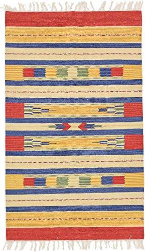 90 x 150 cm Alfombra de tejido reversible tejido 100% material orgánico con tintes vegetales.Tapete. 3' x 5' Multicoloured Indian Cotton Kilim Area Rug, Style: 1978