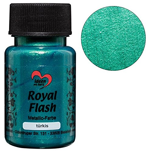 Royal Flash, Acryl-Farbe, metallic, mit feinsten Glitzerpartikeln, 50 ml (türkis)