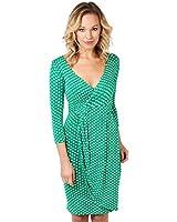 KRISP Damen Jersey Kleid Wickelkleid Einfarbig Pünktchen Schlangenmuster